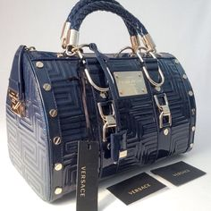 NEW GIANNI VERSACE GLAZED LEATHER GRECA QUILT DOCTOR HANDBAG BLUE MADE IN ITALY #GIANNIVERSACE #Satchel