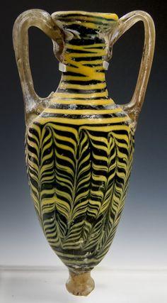 Eastern Mediterranean Core Formed Glass Amphoriskos. Important fine art for sale on CuratorsEye.com
