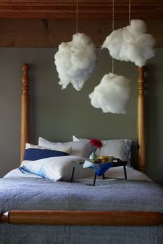 "@Julia PaoneAll you need to do is rip open an old pillow that has polyester   Take a piece of twine and tie it around a clump of pillow fill.    Use your fingers to stretch the fill into the shape of whatever ""cloud"" you want.    Use a thumbtack to attach the twine to the ceiling and voila!   Clouds."