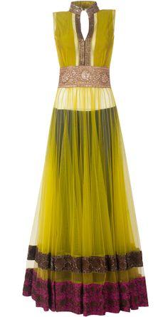 Manish Malhotra presents olive green raw silk-net yoke style kalidaar set available only at Pernia's Pop-Up Shop. Churidar, Anarkali, Patiala, Salwar Kameez, Indian Bridal Wear, Indian Wear, Indian Dresses, Indian Outfits, Indian Clothes