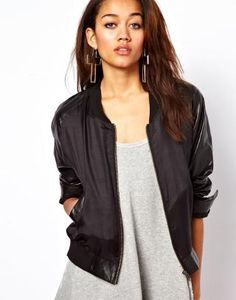 Religion | Religion Silk Bomber Jacket With Leather Sleeves at ASOS