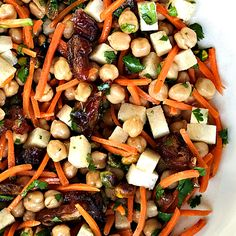 This Garbanzo Carrot Date Salad is a delicious fresh, sweet and savory salad to make ahead - perfect for the reluctant entertainer to make for company!