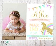 UNICORN INVITATION Unicorn Birthday Party Invitation Rainbow Unicorn Sparkle Gold and Pink Invitation by littlebirdieprints on Etsy https://www.etsy.com/listing/243829404/unicorn-invitation-unicorn-birthday