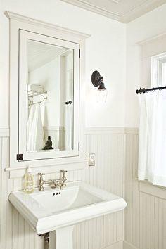 White Beadboard Bathroom - Design photos, ideas and inspiration. Amazing gallery of interior design and decorating ideas of White Beadboard Bathroom in bathrooms by elite interior designers. Bathroom Inspiration, Bathroom Decor, Bathrooms Remodel, Bathroom Mirror, Cottage Bathroom Inspiration, Modern Vintage Bathroom, Beadboard Bathroom, Cottage Bathroom, Bathroom Design