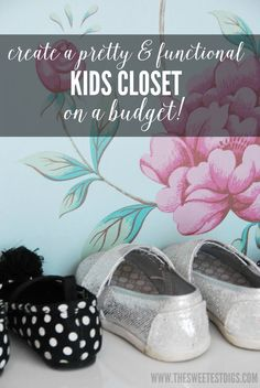 Want to create an organized kids closet on a budget? See how we did ours with IKEA kallax units, IKEA skubb boxes, and DIY shelving. Plus, we made it super pretty with turquoise paint and floral wallpaper! Click over for the full tutorial and supplies list.