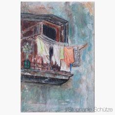 Scrapmanufaktur: Paintings; she painted a Cuban balcony on a 10x15 cm size canvas panel.