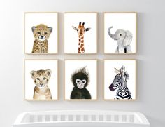 Lets make your little ones room warm and enjoyable!  This animal portrait art prints collection features a set of 6 prints from my safari animals nursery wall art. If, however, youd like to swap any of them for a different piece in my shop, please give me a notice about which baby animals you want to swap it.  Materials: Printed on beautiful high quality, archival and acid free velvet fine art paper using professional Epson Ultra Chrome inks. Prints will be signed and dated on the back by…