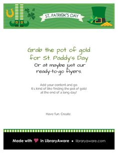 Our St. Paddy Day flyers are ready! Search flyers-events for to see the entire series.