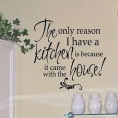 Burn Water - Humorous Anti-Cooking vinyl wall decal for your Kitchen Kitchen Wall Decals, Kitchen Vinyl, Kitchen Signs, Diy Kitchen, Kitchen Ideas, Kitchen Decor, Vinyl Quotes, Wall Quotes, Words Quotes