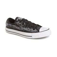 Converse Chuck Taylor All Star 'Sequin Flag' Low Top Sneaker found on Polyvore featuring polyvore, fashion, shoes, sneakers, converse trainers, black and silver shoes, low tops, stripe shoes and laced shoes
