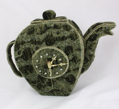 Bubble Tea Time Teapot Clock green Storage vessel tea bags and tea cups Art Clock Unique free standing clock mantle clock kitchen clock by NellsEmbroidery on Etsy https://www.etsy.com/listing/234115408/bubble-tea-time-teapot-clock-green