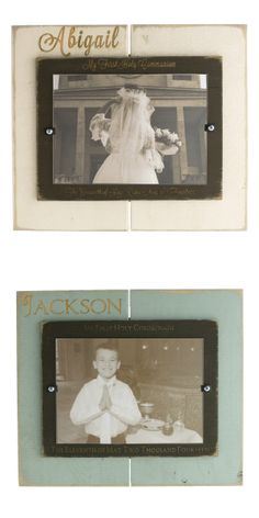 NEW! We're excited about these Personalized First Communion Photo Frames designed by our Art Department. Rustic, hand-painted wood in colors for boy & girl. Made in the USA. #CatholicCompany