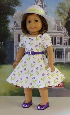 Tea for Tulips - vintage style dress for American Girl doll. $60.00, via Etsy.