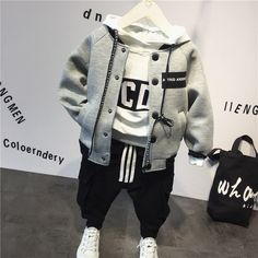 New Boys and Girls Baby Suit Spring and Autumn Models Infant and Child Cartoon Sweater Wei Pants Two Sets Baby Boy Fashion, Kids Fashion, Baby Boy Suit, Baby Boys, Baby Boy Outfits, Kids Outfits, Winter Baby Boy, Winter Suit, Boys Suits