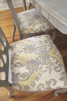 Re Cover Your Dining Room Or Kitchen Chairs Done In Waverly Bedazzle Silver Lining Fabric