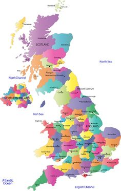 Colorful England Map showing the cities