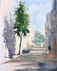 Watercolor Pictures, Watercolor Trees, Watercolor Landscape, Landscape Art, Landscape Paintings, Sketch Painting, Watercolour Painting, Watercolors, Watercolor Architecture