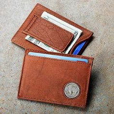 BUFFALO MONEY CLIP ~ Money clip has a sturdy spring tab for folded cash. Pockets hold credit cards and ID. Genuine Buffalo nickel insets.   www.wildwings.com