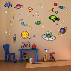 Outer Space Room Decoration for Kid's Room by Bringyourwallstolife, $44.95