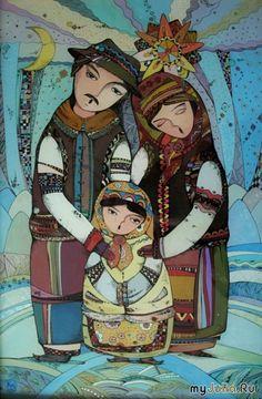 Коляда Ukrainian Christmas, Armenian Culture, Ukrainian Art, Love Illustration, Naive Art, Heart Art, Whimsical Art, Teaching Art, Illustrators