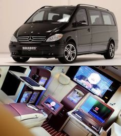 This particular home theater is in a home on wheels, and it's a Mercedes-Benz tuner Brabus theater. It has a 40-inch 3D model, which has a Playstation 3, Internet connected Mac Mini, not to mention a lot of iPads. In case you are wondering, there is also a Keurig coffee machine, in case you need some extra energy.