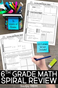 36 weeks of daily Common Core math review for sixth grade! Preview and Review important 6th grade math concepts all year long! Perfect for homework, morning work, or test prep! 5-A-Day: 6 tasks a day, M-Th. CCSS M.6 Available for 3rd - 6th grades! Teaching Critical Thinking, Teaching Math, Teaching Fractions, Teaching Ideas, Teaching Materials, Sixth Grade Math, Third Grade, Teaching Place Values, Spiral Math