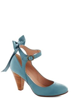 Bow My Darling Heel in Sky. Nearly everyone will want you to be their darling when they spot you styled in the sky-blue hue of these sweet leather pumps by Shani Bar. #blue #wedding #bride #modcloth
