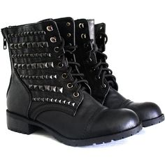 Black Studded Combat Boots- Black (145 CAD) ❤ liked on Polyvore featuring shoes, boots, ankle booties, sapatos, botas, black ankle booties, black studded boots, studded combat boots, black studded booties and black military boots