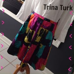 NWT Stunning Trina Turk Silk Blend Skirt Size 8 Spring is coming. Gorgeous new with tag fully lined silk blend skirt by Trina Turk. Such great colors. Size 8 Trina Turk Skirts