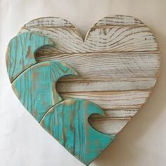 PLEASE ALLOW WEEKS FOR DELIVERY The one shown in the first picture is available to ship Our blue wave heart, created from our own design. Is hand cut, sanded , glued and nailed together. On the back is has wood supports that helps to hold it all togeth Wooden Projects, Wood Crafts, Pallet Projects, Pallet Art, Pallet Ideas, Beach Crafts, Driftwood Art, Scroll Saw, Beach Art