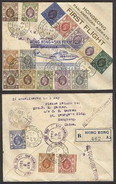 Hongkong 1937 (29 April). First Panam flight. USA return trip HK - SF / USA. Reg mutlifkd lovely usage.  Dealer Antonio M. Torres  Auction Starting P...