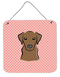 Checkerboard Pink Chocolate Labrador Wall or Door Hanging Prints BB1234DS66