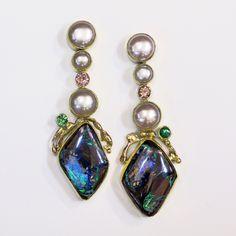 Boulder opal earrings with pearl, tsavorites and zircon in 22k and 18k gold. Boulder opals from Bill Kasso www.kalledjewelrystudio.com