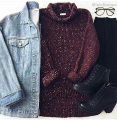 Light wash jean jacket over burgundy sweater, and black jeans and shoes... Wintery!