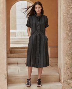 Poetry - Striped linen dress - In our slightly heavier weight striped linen, this unlined shirt dress has a funnel neckline with a buttoned placket. With a wide, slightly cinched-in waistband, two jetted side pockets dolman sleeves. 100% linen, Trim 100% cotton