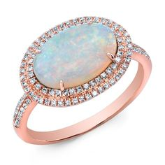 14KT Rose Gold Double Halo Opal Diamond Cocktail Ring