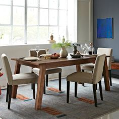 Mix + Match Table - Solid Wood Base / Solid Wood Top in October 2012 from West Elm Modern Wood Furniture, Condo Furniture, Dining Room Furniture, Expandable Table, Solid Wood Dining Table, Table And Chairs, Dining Tables, Dining Area, Dream Decor