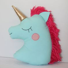 Unicorn Pillow Light Green - decorative pillows , stuffed animals, plush toy, bedroom ideas, horn home decor