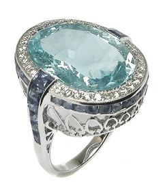 ; )16.48ct Oval Aquamarine  3.85ct Sapphire Diamond 18k White Gold Ring