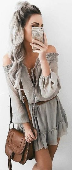 gray loose playsuit
