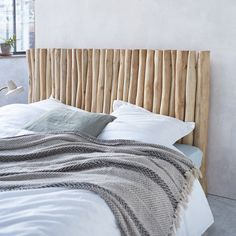 Turn your bedroom into a Polynesian escape with this beautiful Bamboo Driftwood Headboard and add a taste of tropical shores! Driftwood Headboard, Bed Headrest, Backboards For Beds, Diy Bedroom Decor For Teens, Teak, Grown Up Bedroom, Double Headboard, Headboards For Beds, Bed Furniture