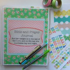 Bible Journal / Prayer Journal DELUXE KIT by FarmGirlJournals This Journal Kit includes both a Bible Journaling section and a quiet time prayer section.  It also includes 4 coordinating sheets of laminated letter, number, tab, and shapes stickers AND an attached pocket to keep your stickers, pens, pencils, etc. all handy!