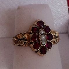 Antique Georgian Ruby and Seed Pearl Gold Ring Bead-Set Rubies 4.3 grams