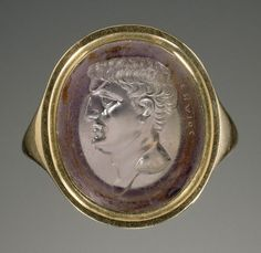 Mark Antony, Gnaios, 40–20 B.C. Amethyst intaglio set in a modern gold ring.