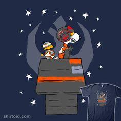 """I Can Fly Any Peanut"" by kalgado Snoopy and Woodstock as Poe Dameron and BB-8"