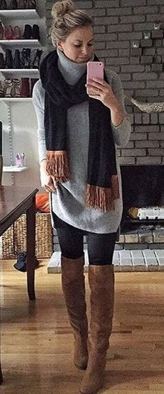 #winter #fashion /  Grey Oversized Turtleneck + Black Scarf