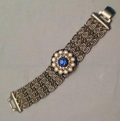 CIJ Vintage Gold Tone Bracelet Blue Rhinestones Cuff by ravished, $20.00
