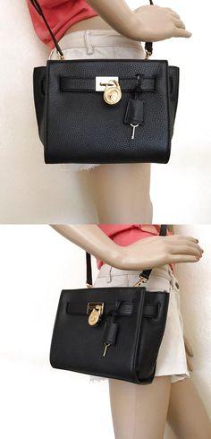 NWT Michael Kors Black Leather Hamilton Traveler Messenger Crossbody Bag $144.99