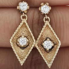 .70CT ESTATE VINTAGE ROUND NATURAL DIAMOND DROP DANGLE EARRINGS 14K YELLOW GOLD