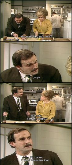 Where would we be without Fawlty Towers every week? Basil at his insulting best playing a hotel owner in Cornwall with his wife. very funny. British Sitcoms, British Comedy, English Comedy, Comedy Tv, Comedy Show, Comedy Quotes, Only Fools And Horses, Laugh Track, Classic Comedies